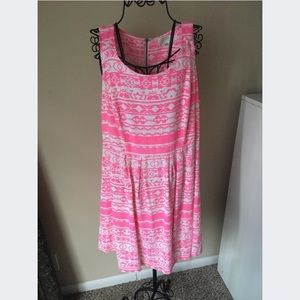 Forever 21+ Hot Pink Aztec Print Dress Plus 1X